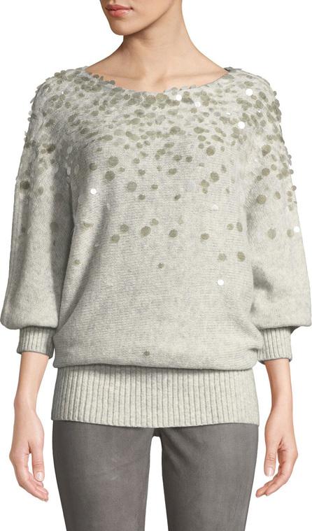 Lafayette 148 New York Dolman-Sleeve Brushed Cashmere-Silk Paillette Sweater