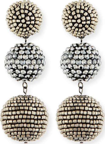 Kenneth Jay Lane Beaded Three-Drop Ball Earrings oZ21iEjJP