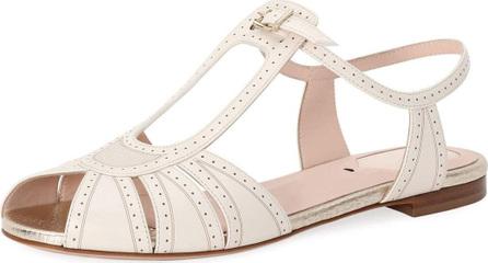 Fendi Chameleon Brogue Leather Flat Sandal