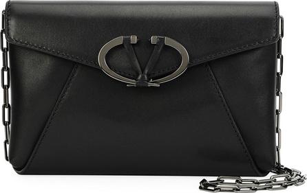 Valentino V Rivet Leather Chain Clutch Bag, Black