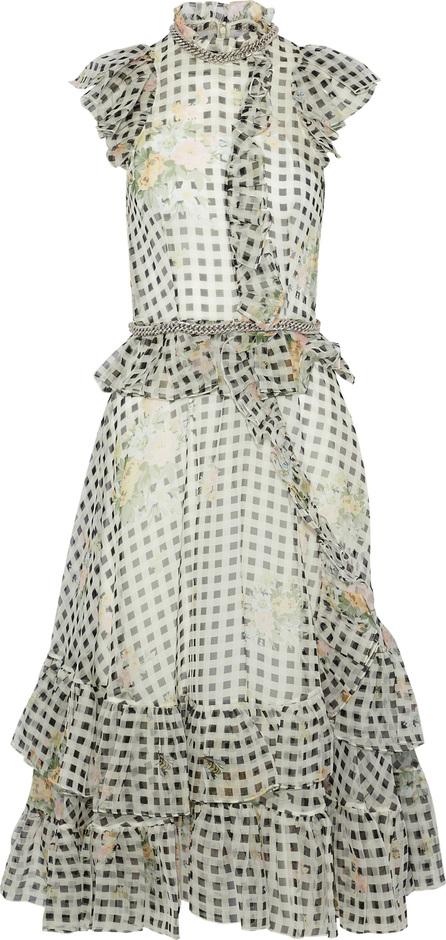 Christopher Kane Chain-embellished printed silk-organza midi dress