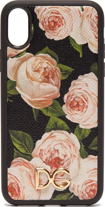 Dolce & Gabbana Rose-print dauphine-leather iPhone® X case