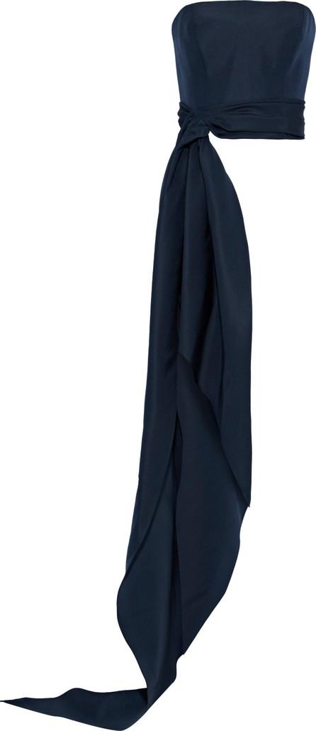 Reem Acra Strapless draped silk-faille top