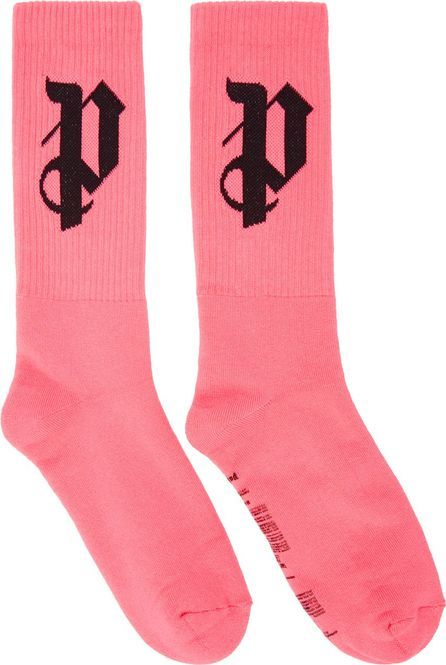Palm Angels Pink 'PA' Monogram Socks