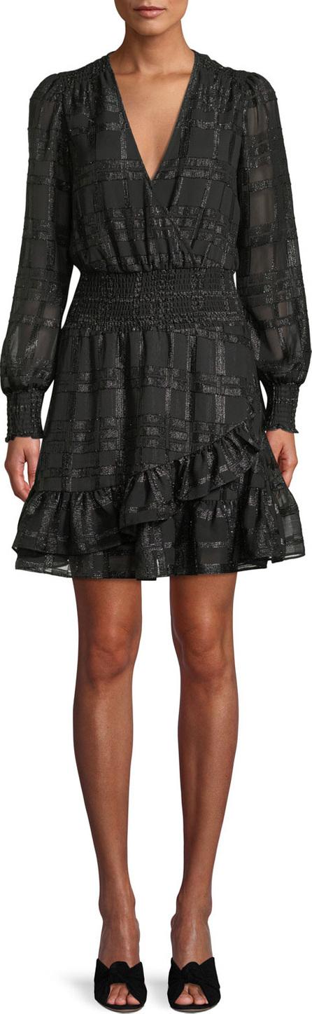 MICHAEL MICHAEL KORS Shiny Plaid Long-Sleeve Ruffled Dress