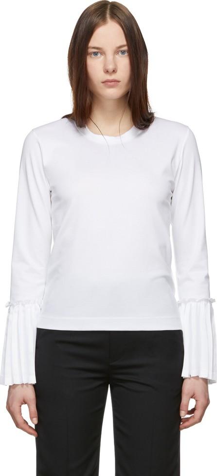 Noir Kei Ninomiya White Pleated Taffeta Sleeve T-Shirt