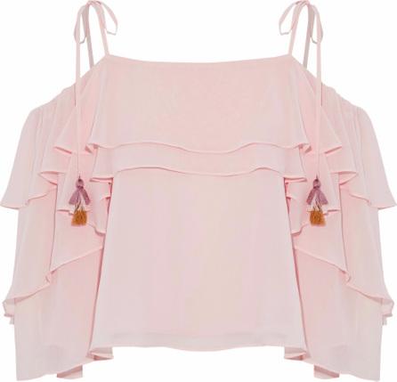 Rebecca Minkoff Deva cold-shoulder tiered chiffon blouse