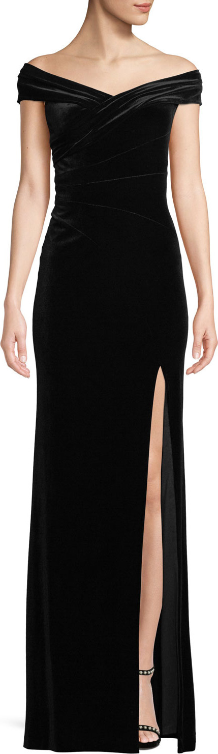 Aidan Mattox Off-The-Shoulder Front-Slit A-Line Velvet Evening Gown