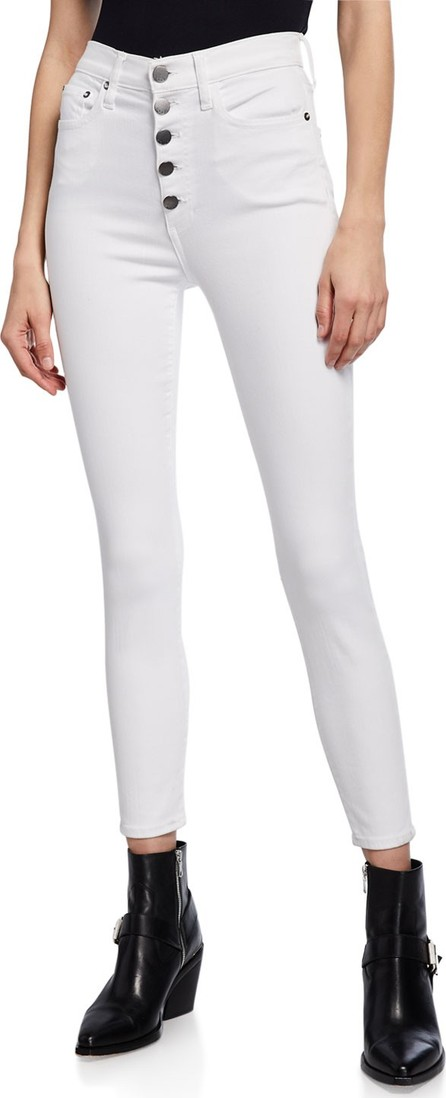 Alice + Olivia Good High-Rise Exposed Button Skinny Jeans