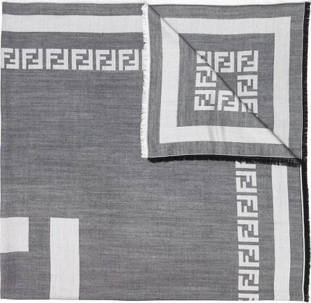 Fendi Logo frayed hem scarf