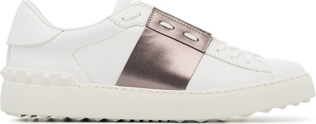 Valentino White and metallic bronze garavani open leather sneakers
