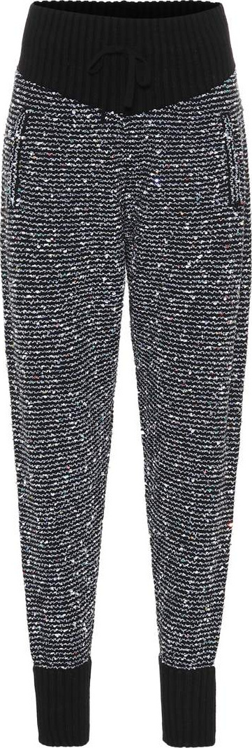 Alessandra Rich Sequined cashmere-blend trackpants