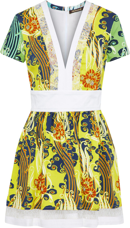 Roberto Cavalli Lace-trimmed printed cotton-blend twill mini dress