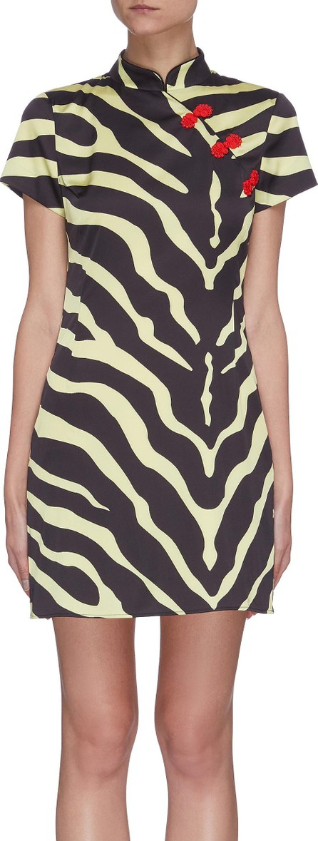 De La Vali 'Suki' tiger print oriental collar satin mini dress