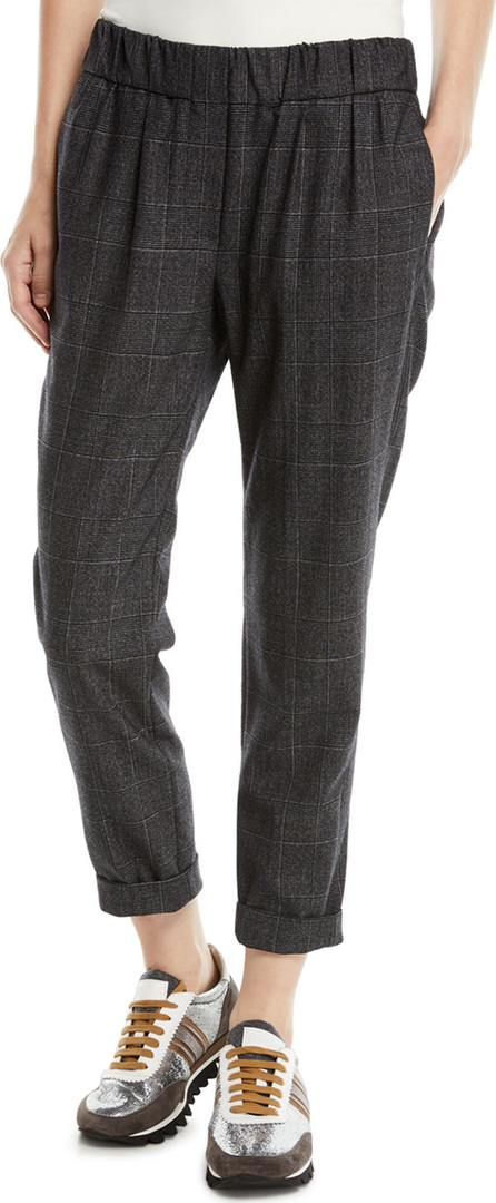 Brunello Cucinelli Plaid Wool Pull-On Pants w/ Monili Stripe