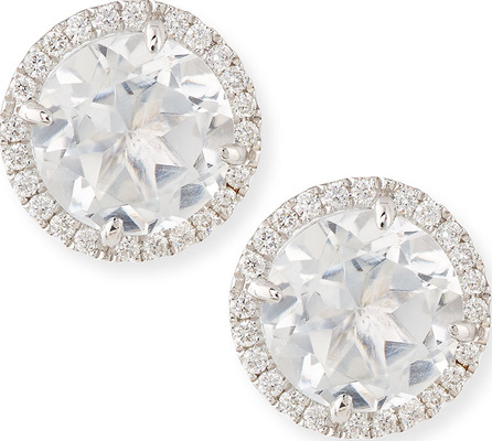 Frederic Sage White Topaz & Diamond Stud Earrings