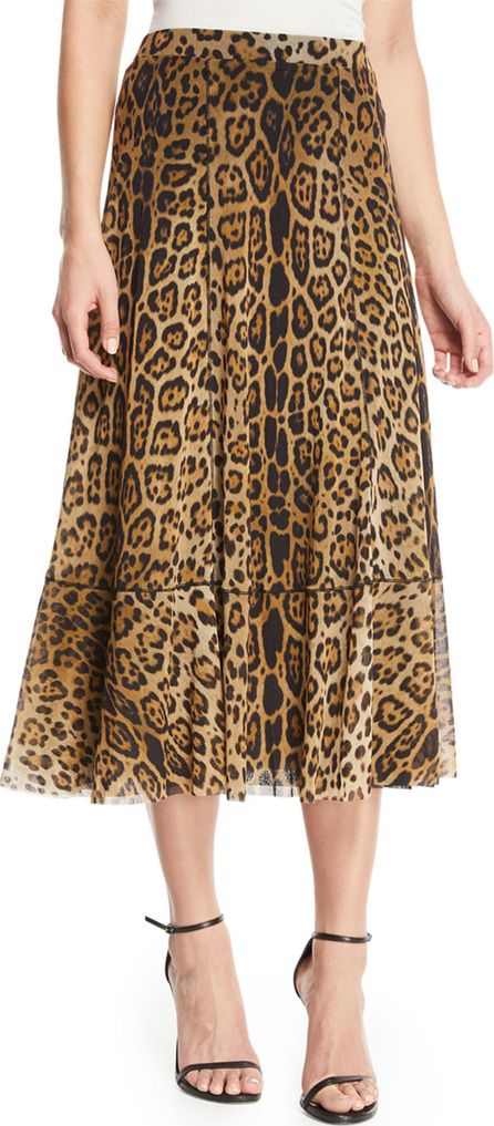 Fuzzi Leopard Animal-Print A-Line Tulle Skirt