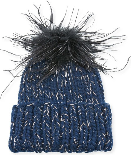 Eugenia Kim Rain Knit Beanie Hat w/ Feather Pompom