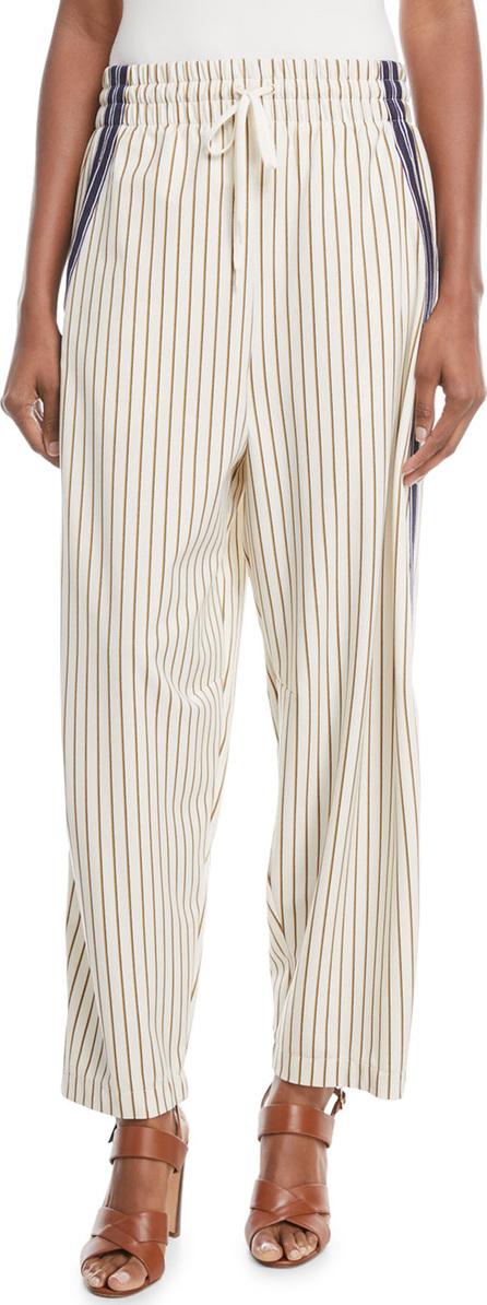 See By Chloé Pinstripe Wide-Leg Drawstring Pants