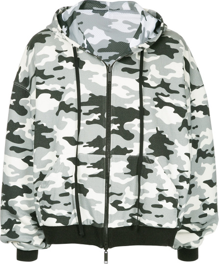 Ben Taverniti Unravel Project Military printed zipped hoodie