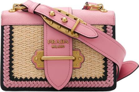 Prada Cahier straw shoulder bag