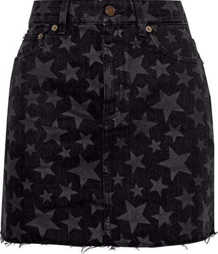 Saint Laurent Frayed printed denim mini skirt