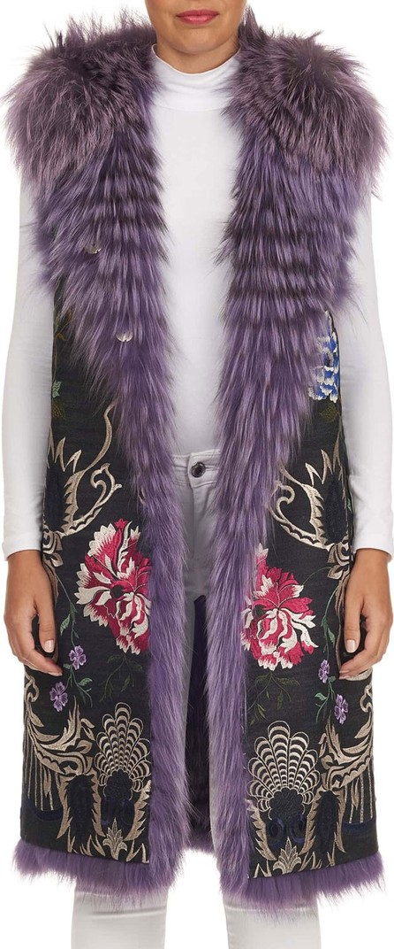 Gianfranco Ferre Reversible Embroidered Fox-Fur Vest
