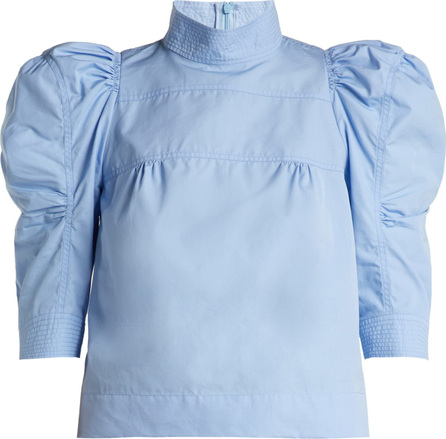 Chloe Puffed-sleeve cotton-poplin blouse