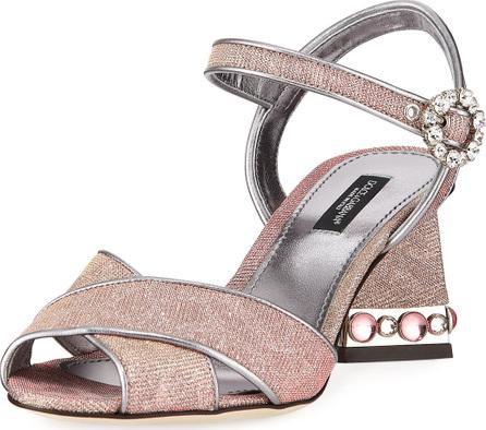 Dolce & Gabbana Quarter-Strap Glitter Jeweled Sandals