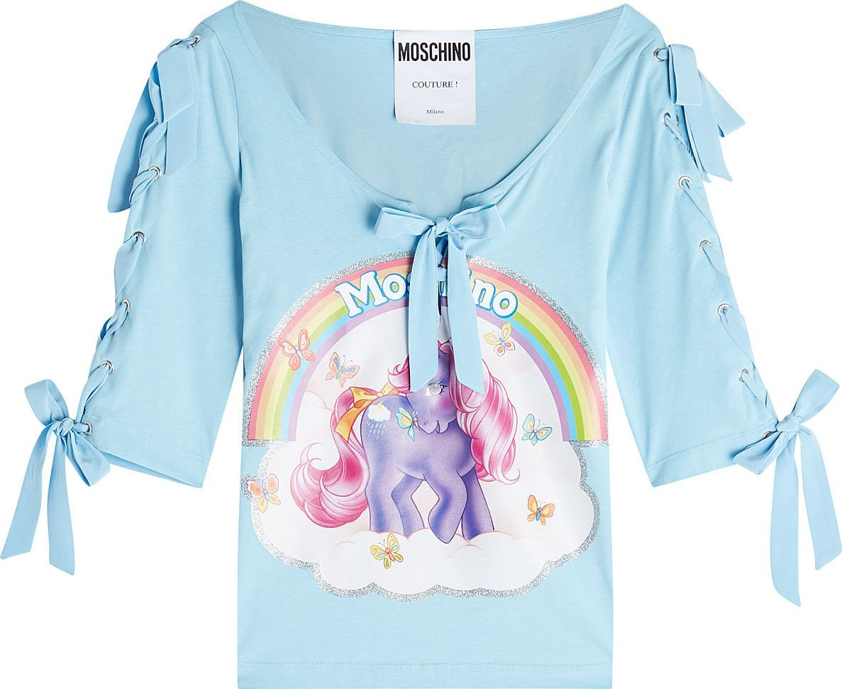 Moschino - Little Pony Printed Cotton Top with Bows