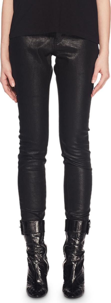 Saint Laurent High-Waist Five-Pocket Coated Cotton Skinny Jeans