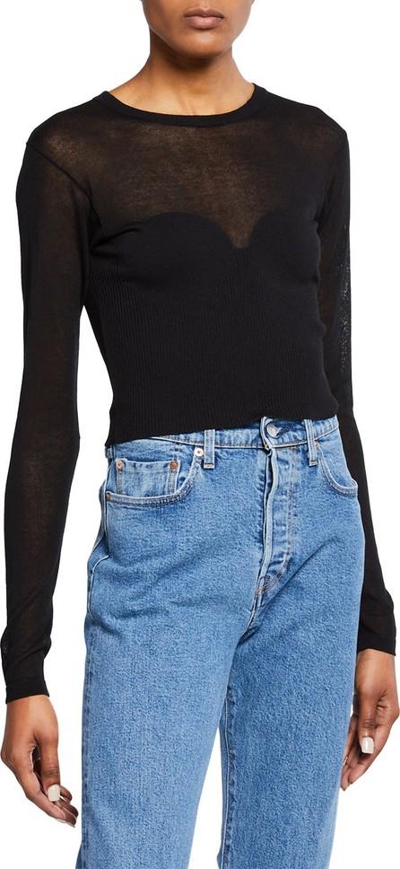 Bardot Crewneck Long-Sleeve Cropped Knit Illusion Tee