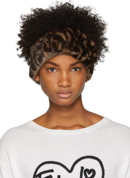Fendi Brown Mink FF Logo Headband