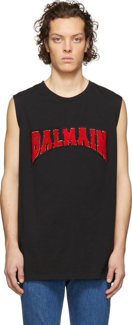Balmain Black Cotton Logo Sleeveless T-Shirt