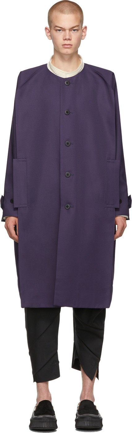 132 5. Issey Miyake Purple Collarless Long Coat