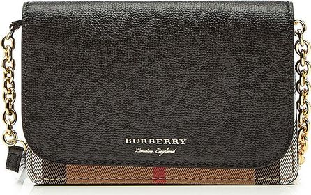 Burberry London England Hampshire Mini Shoulder Bag with Leather and Checked Fabric