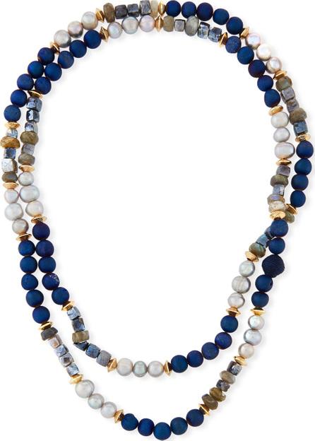 Akola Long Thin Mixed Stone & Pearl Strand Necklace