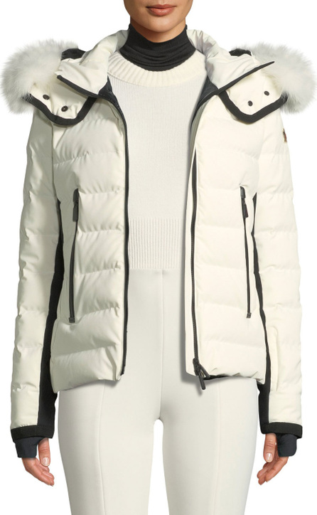 Moncler Lamoura Hooded Puffer Jacket w/ Removable Fur Trim