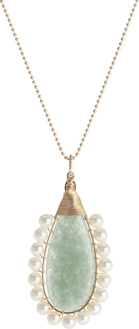 Beck Jewels Lolita Green Aventurine & Freshwater Pearl Pendant Necklace