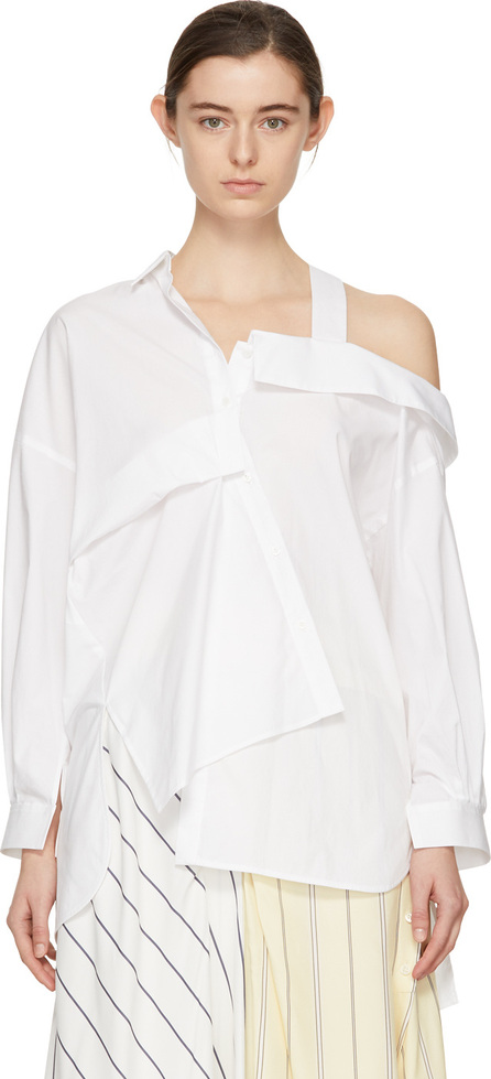 Enfold White Twisted Off-the-Shoulder Shirt