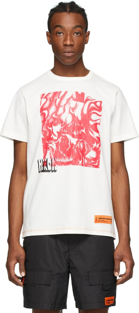 Heron Preston White & Red Box Skull T-Shirt