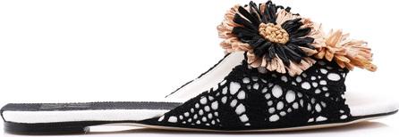 Sanayi 313 Salerno Raffia-Embellished Crocheted and Leather Sandals