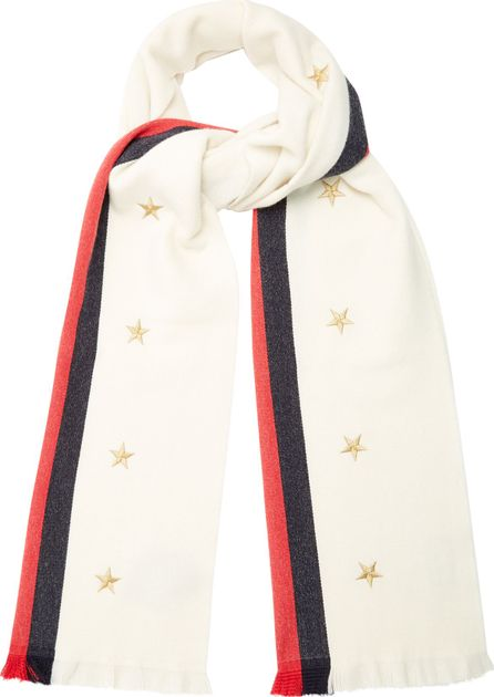 Gucci Star and Web-striped wool-blend scarf