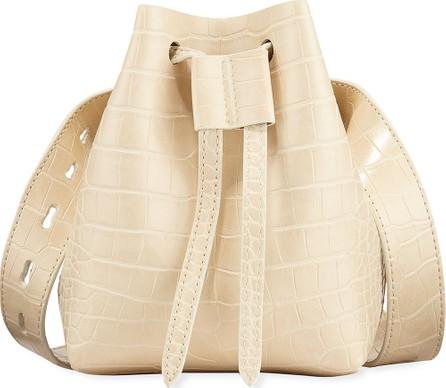 Nanushka Minee Crocodile-Embossed Belt Bag  Cream
