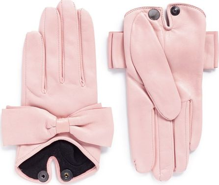 Maison Fabre 'Audrey' bow lambskin leather short gloves