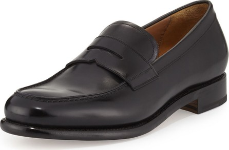 Salvatore Ferragamo Men's Tramezza Calfskin Penny Loafer, Black