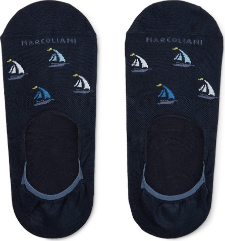 Marcoliani Invisible Touch Intarsia Cotton-Blend No-Show Socks