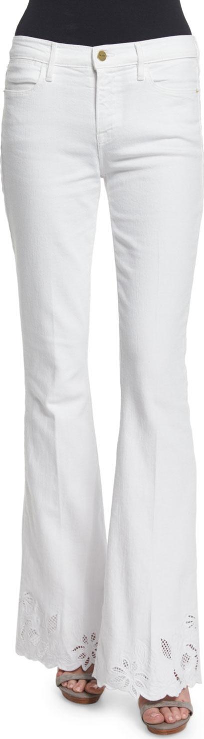FRAME DENIM Le High Flare-Leg Eyelet-Hem Jeans, Blanc