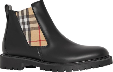 Burberry London England Men's Leather Chelsea Boots with Archival Vintage Check Side Panels
