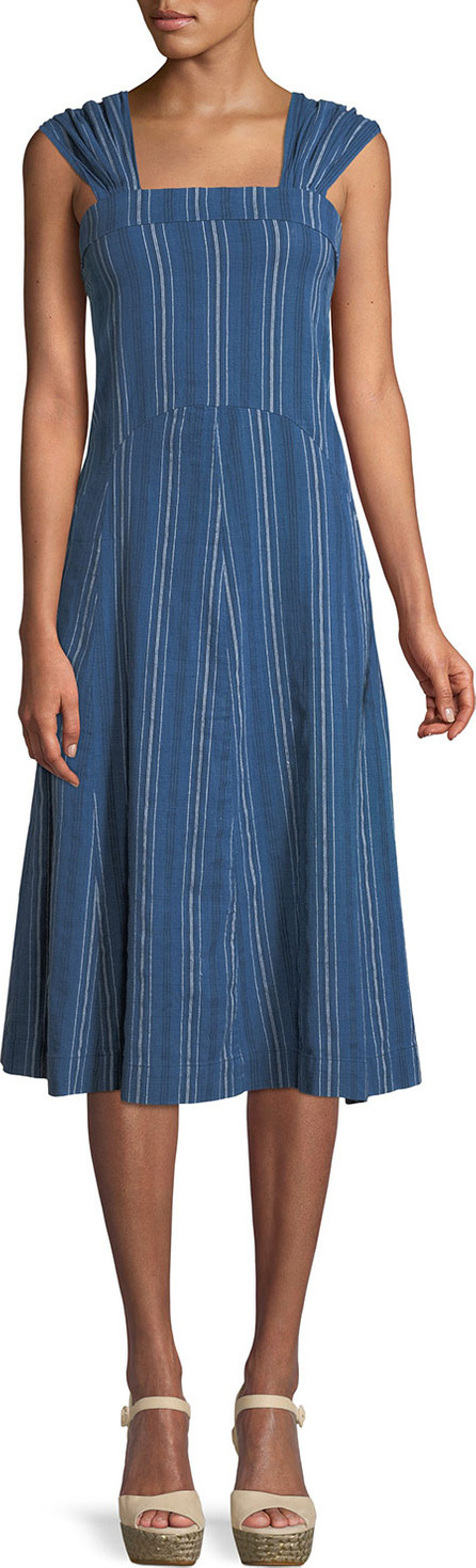 THE GREAT. Sundown Sleeveless Textured-Stripe Yea-Length Denim Dress